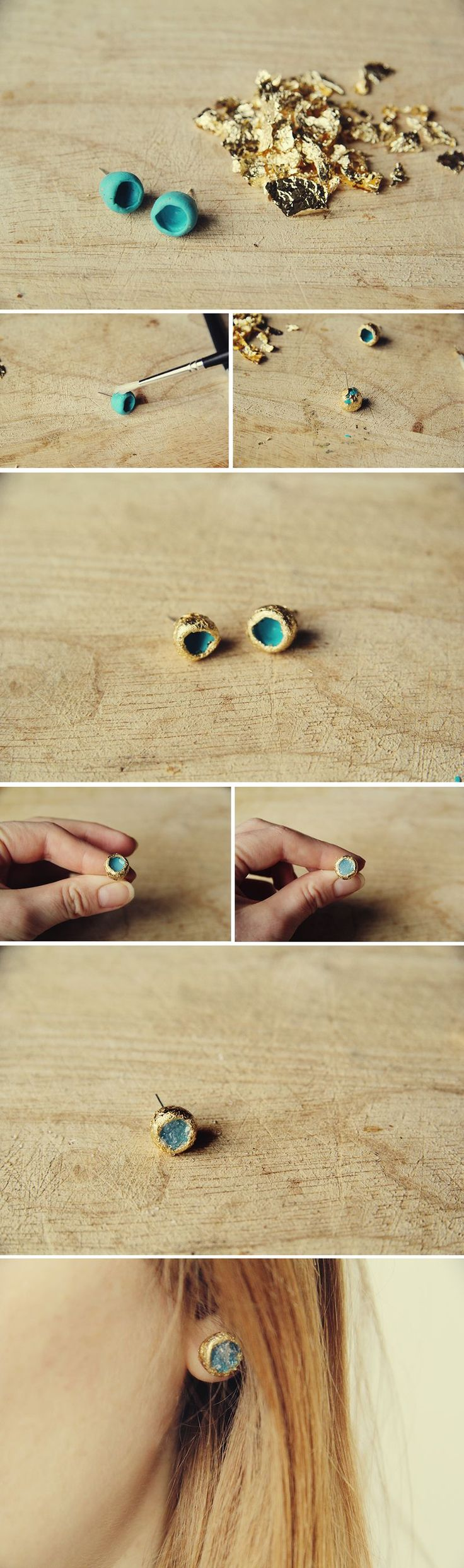 Make these faux raw Gold and Glass earrings from polymer clay