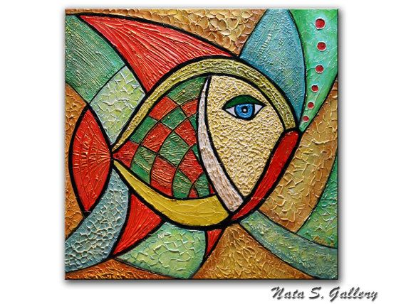 Original Abstract Fish Painting Heavy Textured by NataSgallery