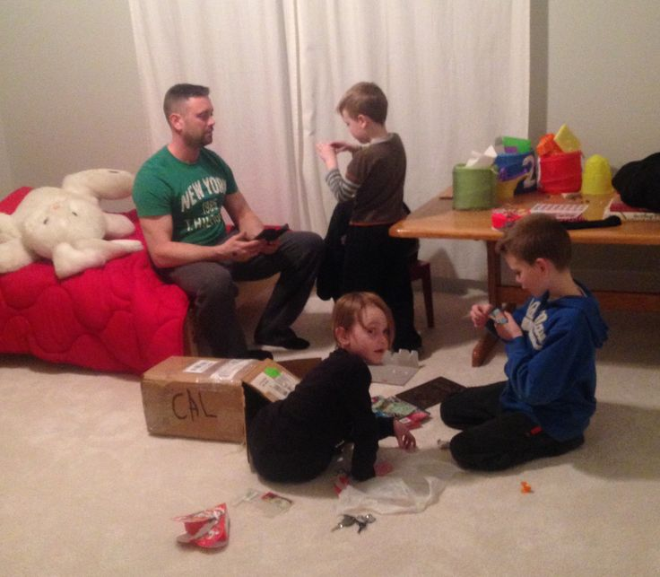 Easter weekend 2016. The boys and dad are having boy time together in the boys bedroom.