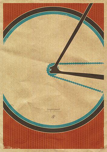 Singlespeed - Retro Fixie Bike Poster Print by Dirk Petzold Illustrations, via Flickr