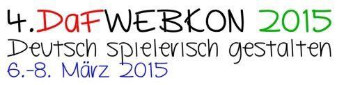 Am nächsten Wochenende startet wieder die DaFWEBKON!   Dies ist eine jährlich stattfindende virtuelle Konferenz für Deutsch als Fremd- bzw. als Zweitsprache. Sie führt Lehrkräfte, Weiterbildungsinstitutionen und Anbieter weltweit via Internet zusammen. Hier wird Deutsch lernen verknüpft mit webbasiertem Unterricht.