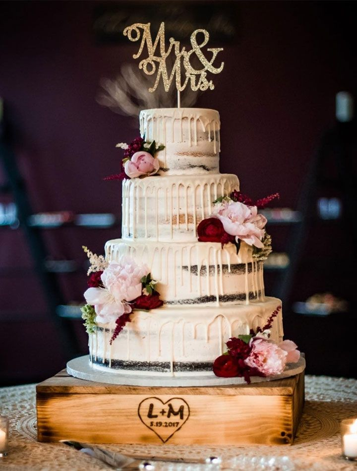 Four Tier Semi Naked Wedding Cake With Burgundy And Blush