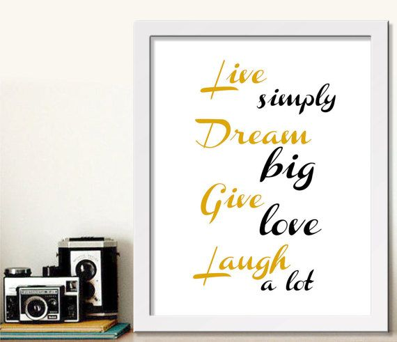 Printable art, Live simply, Laugh a lot, Give love, Dream big, Printable gift, printable for her, Best friend print, Inspiration, Printable