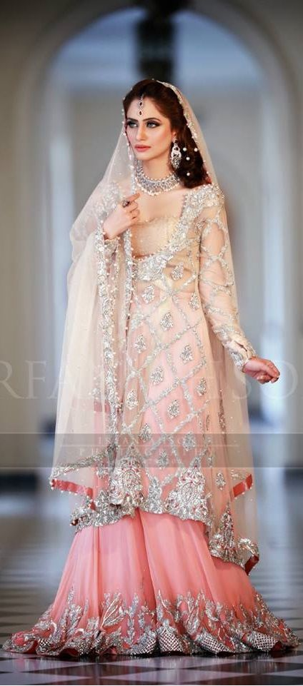 Pakistani bride,Pakistani bridal dress | white and peach ombre dress for nikah or walima