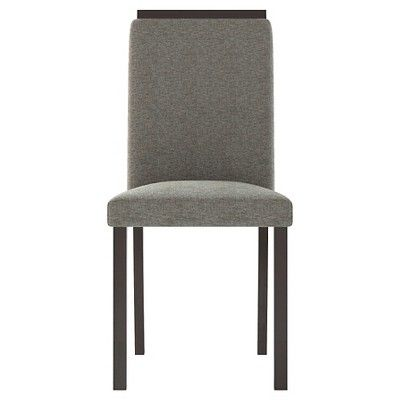 Bistro Upholstered Dining Chair Wood/Pewter Grey (Set of 2) - CorLiving