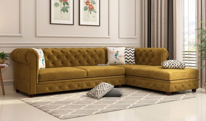 Buy Henry L Shape Right Aligned Corner Sofa Velvet Chestnut Brown Online In India Wooden Street Modern Sofa Living Room Corner Sofa Design Living Room Sofa Design