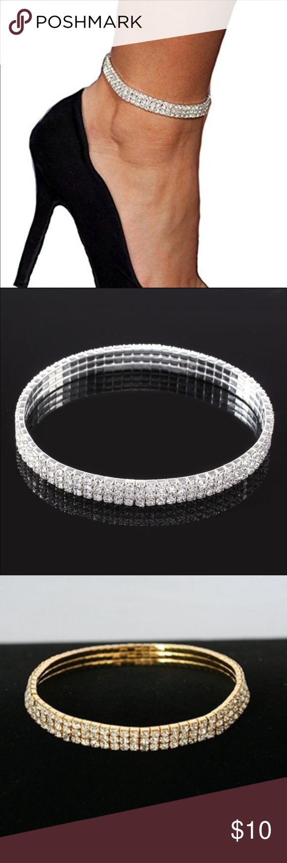 🆕New 3 Strand Tennis Ankle Stretch Bracelet Beautiful stretch tennis ankle bracelet in choice of silver or gold. This will look very classy with heels. Evolve Always Jewelry Bracelets