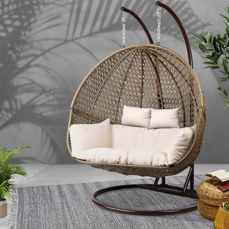 Hayman outdoor double hanging swing chair online only in