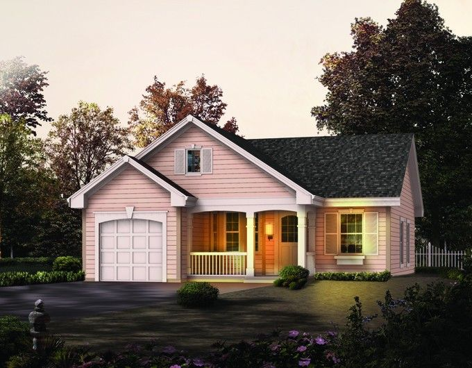 Cottage House Plan with 888 Square Feet and 2 Bedrooms from Dream Home Source | House Plan Code DHSW076187