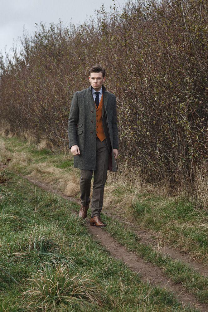 Walker Slater - George overcoat in green wide herringbone Harris Tweed, Edward moleskin waistcoat, Martin trousers in brown fine herringbone and Kenneth shirt.