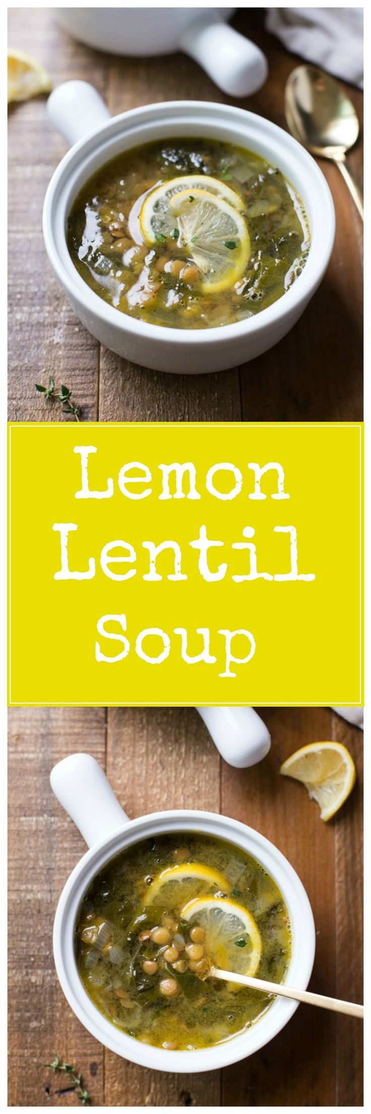 Lemony Lentil & Green Soup- a nourishing and flavorful soup made with just 5 ingredients! (vegan + gluten-free)
