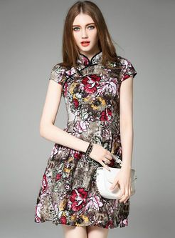 Short Sleeve Patch Print A-Line Dress