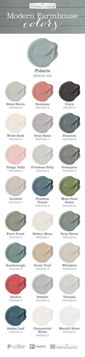 Modern Farm House Colors inspired by Chip and Joanna Gaines Fixer Upper. Fill your home with this color palette to achieve a soft welcoming farmhouse look.