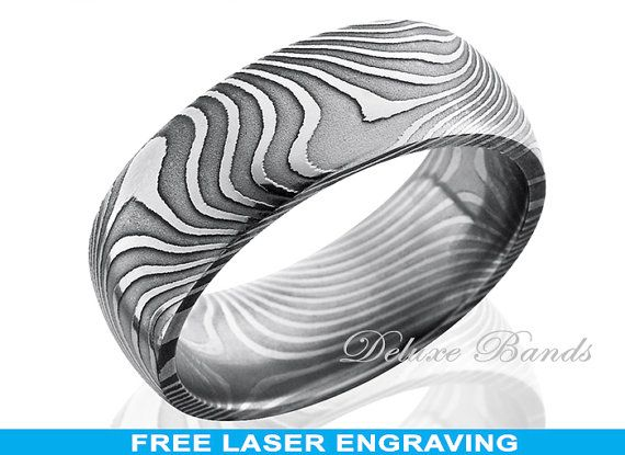 Damascus Steel Wedding RingMens BandDome Shaped8mm