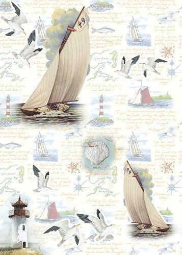 """Рисовая бумага """"Отдых на море"""", артикул: CP05547, формат А3, плотность бумаги 25 г/м2."""