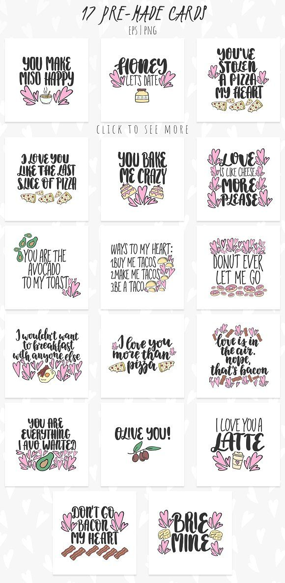 Funny romantic graphic pack. Lettering quote. Clip art #creativemarket