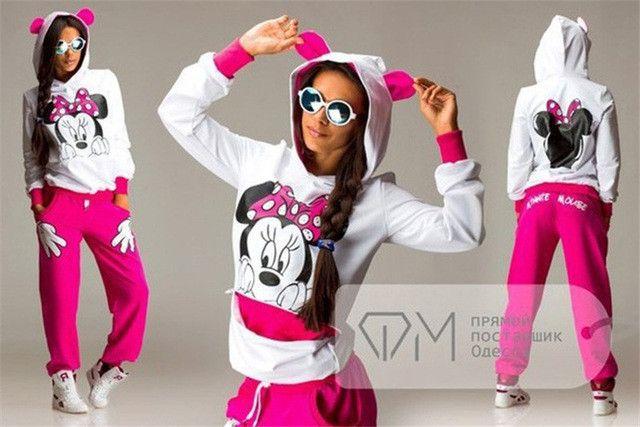 Women'S Sportsuits New Brand Tracksuit Mickey Women Sweatshirt Women Kawaii Hoody Pullovers Female Fleece Cute Sweatshirt Bape
