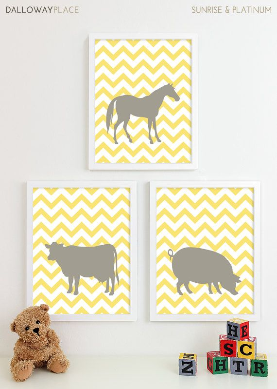Farm Animal Nursery Art Prints Horse Chevron Nursery Wall Art, Pig Cow Farm Baby Nursery Decor Kids Art For Children - Three 8x10
