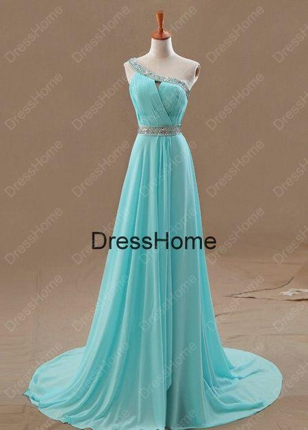 Oneshoulder Blue Prom Dress  Blue Prom Dresses / by DressHome