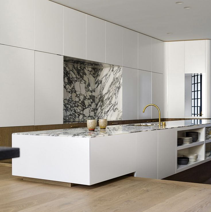 Contemporary White Kitchen by Luigi Rosselli Architects