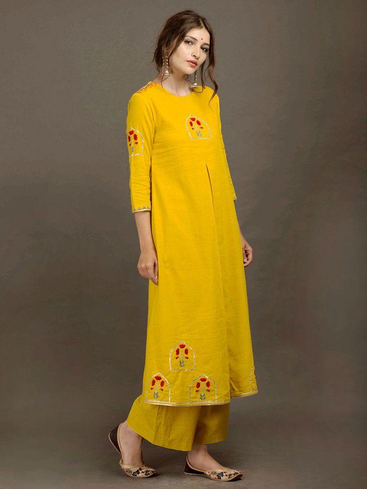 Yellow Khadi Embroidered Kurta