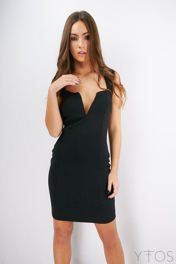Faint Bodycon Dress Clothes Colour: BlackDeep V necklineSoft cupsImported