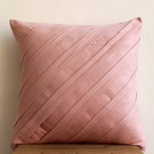 """Amazon.com: Luxury Pink Throw Pillows Cover, Textured Pintucks Solid Color Decorative Pillows Cover, 18""""x18"""" Pillow Case, Square Faux Suede Throw Pillows Cover, Contemporary Pillow Cases - Contemporary Soft Pink: Bedding & Bath"""