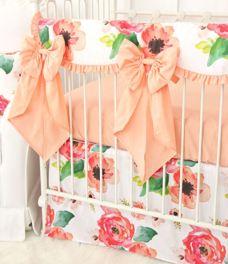 Close Up View of Boho Chic Baby Girl Nursery Bedding with Large Crib Bows
