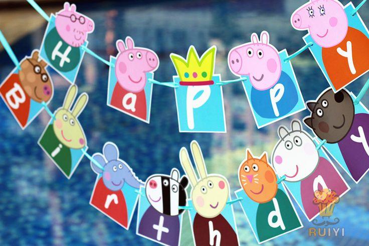 1 компл. папа свинья бумажные флаги овсянка вымпел с днем рождения ну вечеринку баннер гирлянда ну вечеринку украшения купить на AliExpress