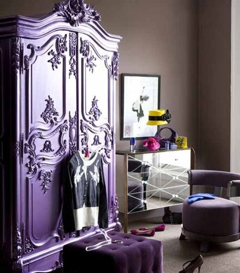 : Idea, Dreams Closet, Mirror Furniture, Purple Armoires, Tiny Spaces, Small Spaces, Mirror Dressers, Bold Colors, Girls Rooms