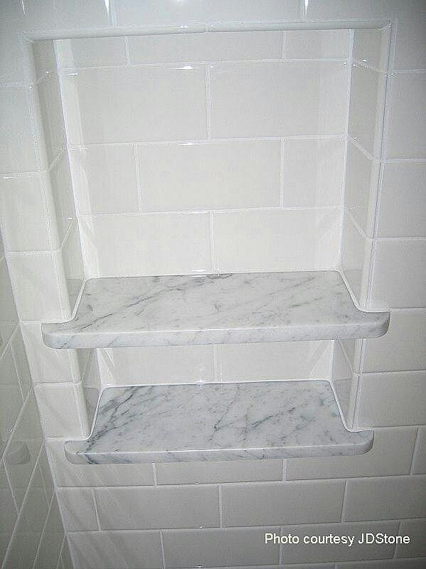 Guest bathroom: Marble shelf with subway tile niche, only 1 shelf. Marble to match shower seat & vanity top