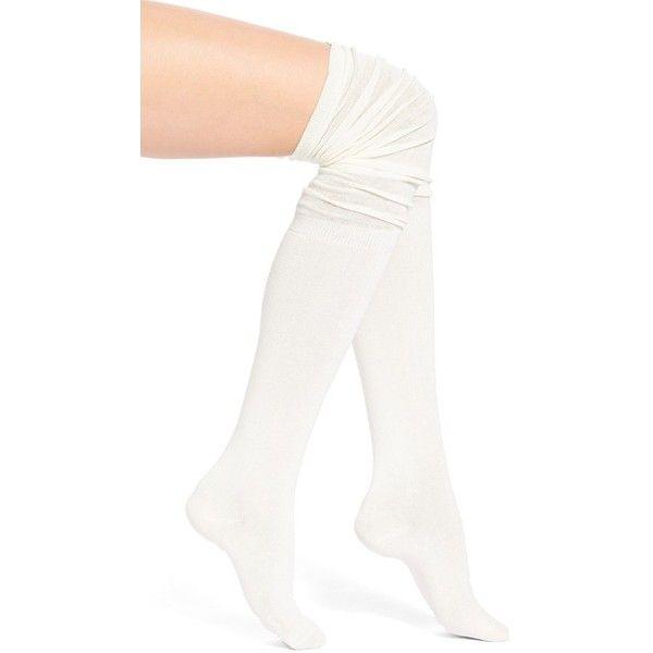 Arthur George by R. Kardashian Slouchy Over the Knee Socks ($20) ❤ liked on Polyvore featuring intimates, hosiery, socks, cream, slouchy socks, extra long slouch socks, overknee socks, arthur george socks and slouch socks