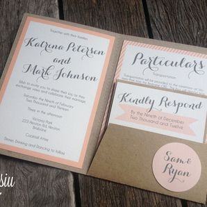 Pastel Pink Wedding Invitation Set by Misiu