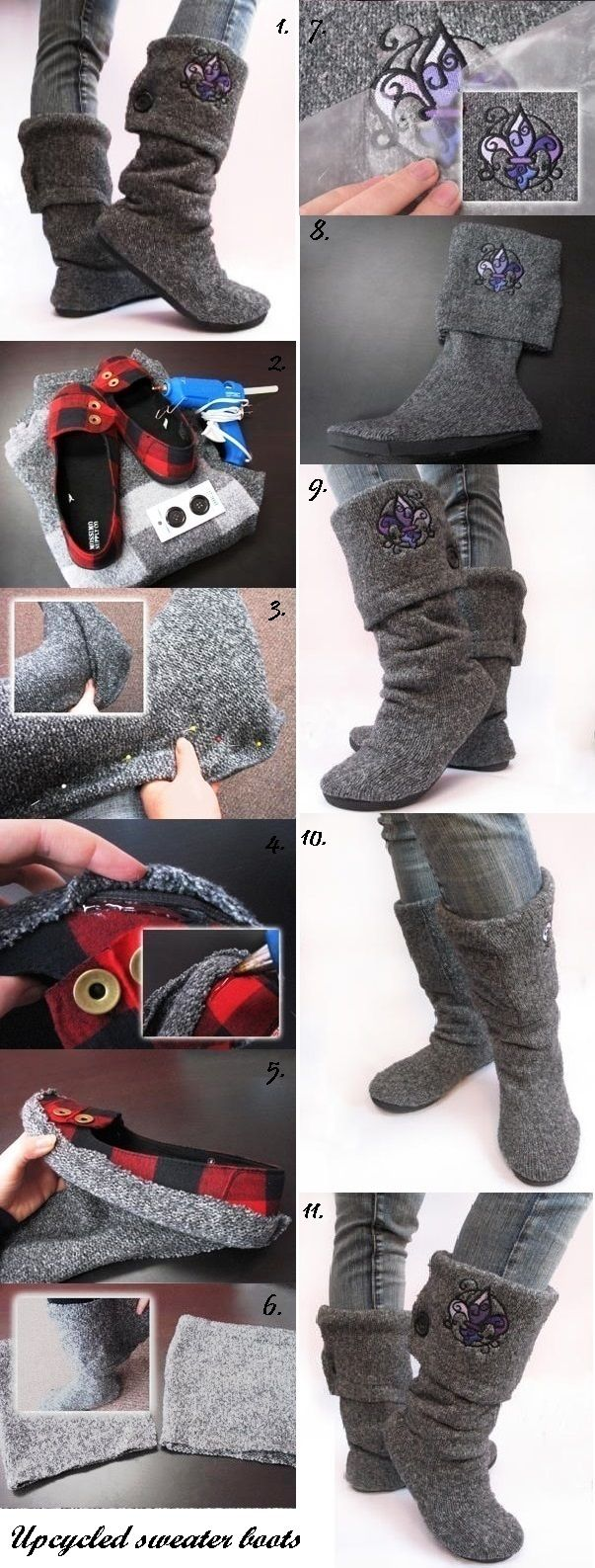 Up-cycled sweater boots. Could be fun! So much to do with sweaters...leg warmers, hats, mitts etc. ~Sophie