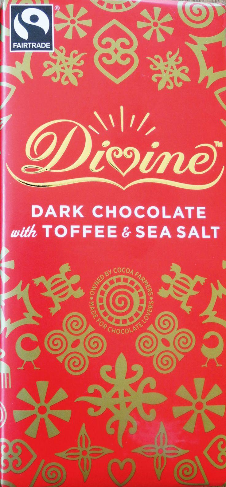Choklad mörk med toffee och havssalt. Divine. Fairtrade
