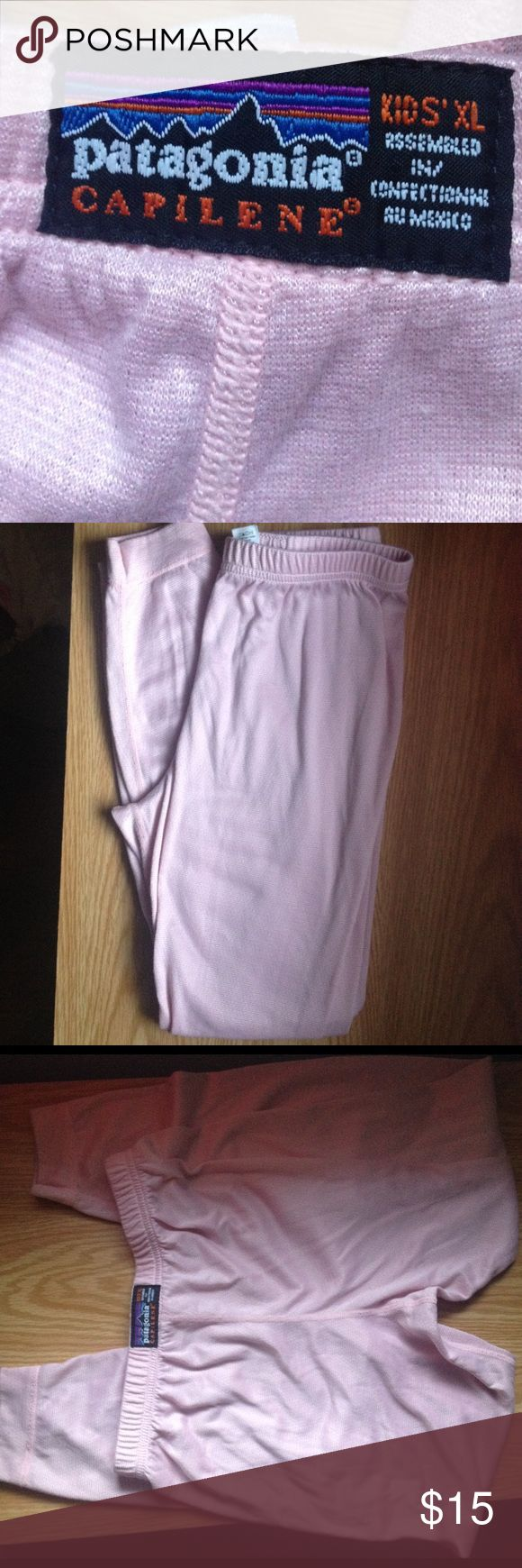 Patagonia Kids Capilene pants Patagonia Capilene pants are a base layer pants (think long johns) for kids to wear under their snow pants or under their jeans on a cold day. These are light pink with a bit of sheen in the right light. In good gently used condition. Size XL (14) Patagonia Bottoms