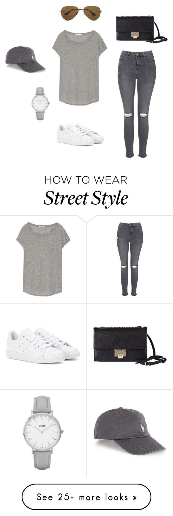 """""""KENDALL JENNER STREET STYLE"""" by iaerik on Polyvore featuring Topshop, adidas, James Perse, Ray-Ban and Jimmy Choo"""