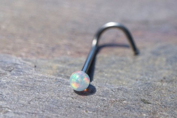 18g or 20g White Fire Opal Nose Ring Corkscrew