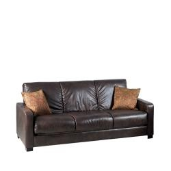 @Overstock - Comfortable and stylish, the transitional Trace Convert-a-Couch futon sofa features a three-position hinge which allows you to sit, lounge or sleep two comfortably. The futon sofa is covered in a durable Renu leather fabric and works well in any decor.  http://www.overstock.com/Home-Garden/Trace-Convert-a-Couch-Brown-Renu-Leather-Futon-Sofa-Sleeper/5503604/product.html?CID=214117 $535.99