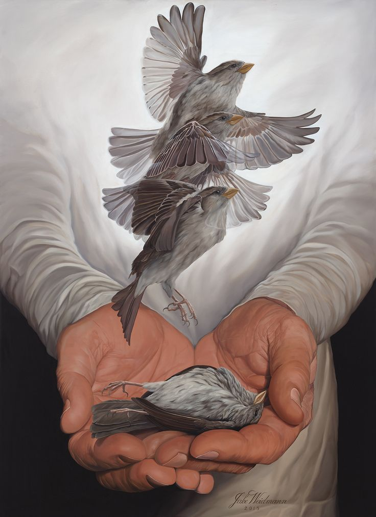 """Transformation"" - Jake Weidmann {contemporary realism art calligrapher bird in the hand #hyperreal painting} jakeweidmann.com"