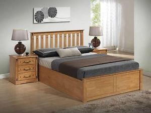 Stanley Solid Wooden Ottoman Storage Bed Frame   4ft6 Double/5ft Kingsize