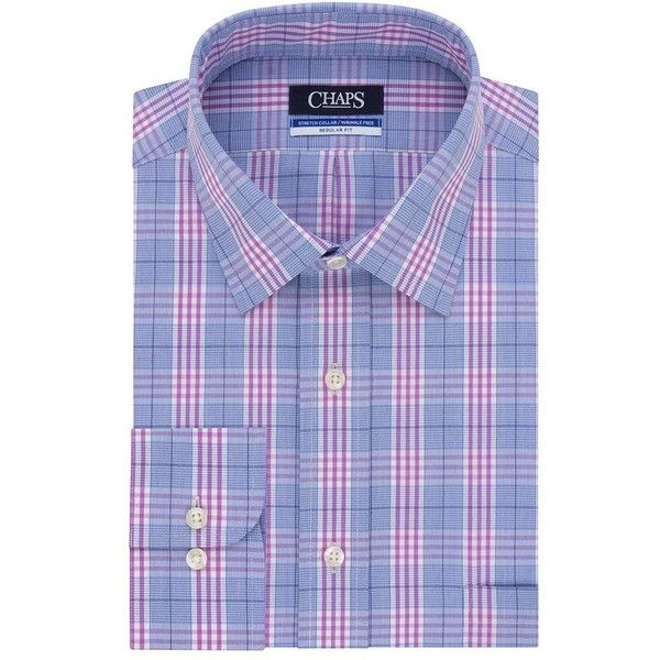 Men's Chaps Regular-Fit Wrinkle-Free Stretch Collar Dress Shirt (425 NOK) ❤ liked on Polyvore featuring men's fashion, men's clothing, men's shirts, men's dress shirts, purple oth, men's wrinkle free dress shirts, mens long sleeve collared shirts, mens purple dress shirt, wrinkle free mens shirts and mens purple plaid shirt