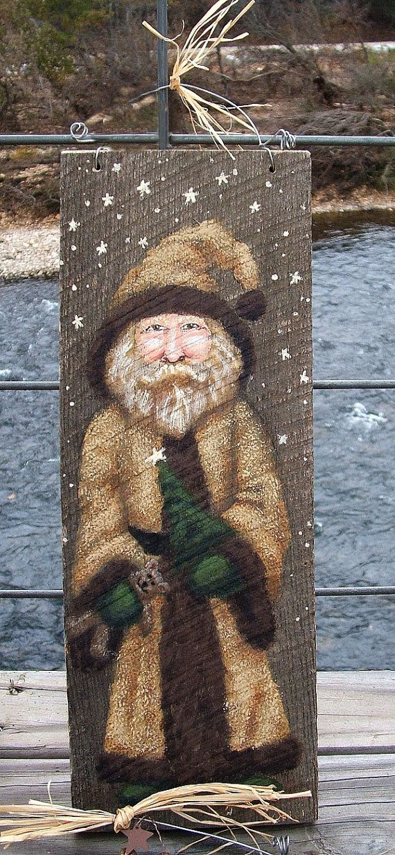 """Santa with Gold Suit, teddy bear, authentic barnwood, hand painted, 5 1/2"""" x 12"""""""