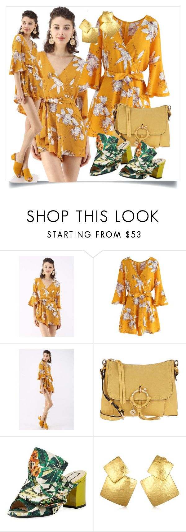 """""""Yellow playsuit   shopelot"""" by shopelot ❤ liked on Polyvore featuring Chicwish, See by Chloé, N°21 and Oscar de la Renta"""