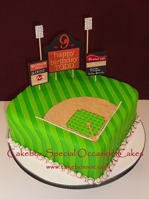 neat looking grass field, but infield too small for the baseball guys.  Just using as reference picture for ideas. baseballs around bottom edge are cute. cake# 5 for reference.