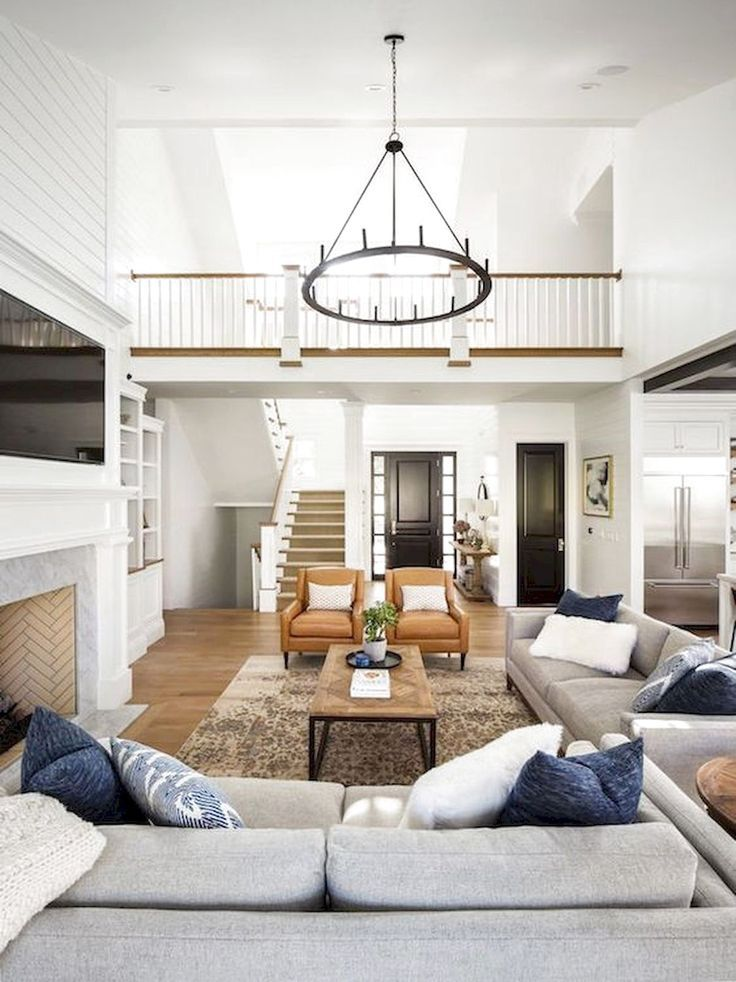 modern farmhouse family room decor, neutral living…