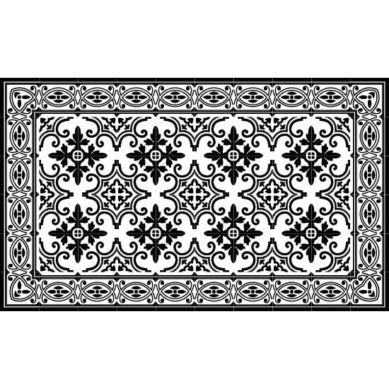 Tapis vinyl jaffa black and white 60 x 97 cm beija for Moquette geometrique