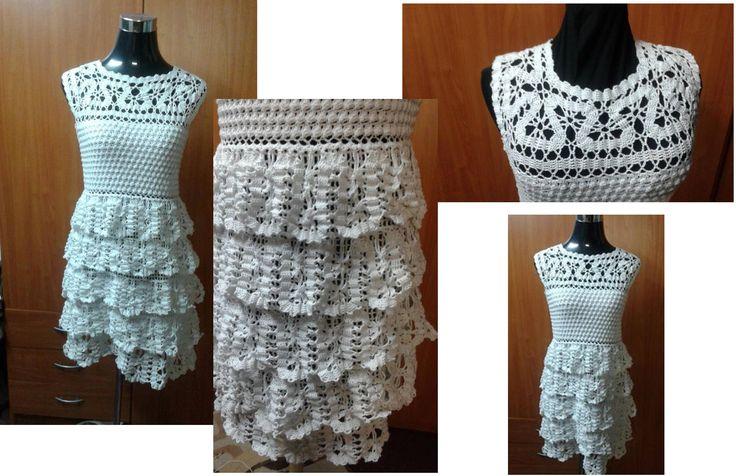 Vestido de novia tejido a crochet en hilo