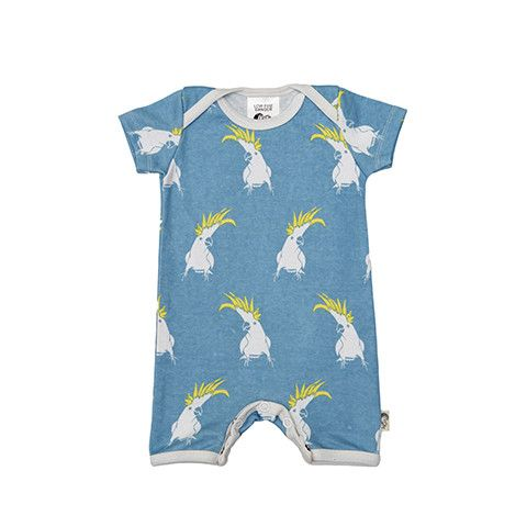 Short Romper - Cockatoo Printed super soft and stretchy 100% Organic Cotton baby romper 'Onesie' with contrast binding. Envelope neck allows for easy dressing, with press-stud closure inside legs for easy changing. Perfect for sleep and play.  Pop Cockatoo with forget-me-not-blue background and white trim.