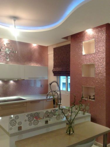 glitter wallpaper Kitchen Backsplash Idea